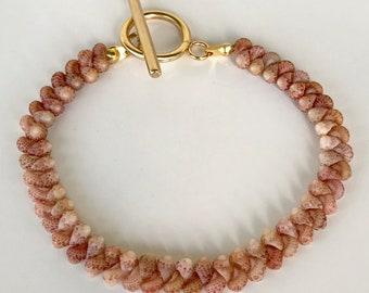 Kahelelani shells lei bracelet, gold stainless steel toggle clasp, 6.5 inches, Handmade Kauai Hawaii