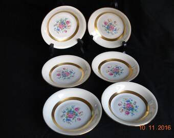 "6 - Vintage Haviland Gainsborough ( New York) 5"" Fruit or Dessert Bowls Gold Trim"