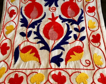 Hand Embroidered Pomegranate Pillow Case.