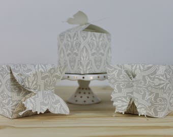 Gray Patterned Butterfly Favor Box -12