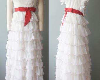 Vintage Retro 1960's prom dress formal evening wear ruffles red and white bow by Nadine's size small