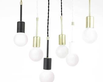 Pendant Light Hanging Lighting concrete canopy brass finish