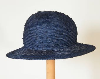 extra large summer hat for women/ navy straw hat for women / Elegant summer cloche / royal blue sun protection hat/ ladies straw hat