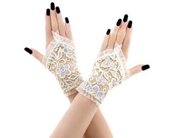 lace gloves ivory gloves bridal gloves wedding gloves fingerless gloves ivory gloves short fingerless gloves fabric gloves lace ivory 4540