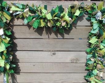 6' St. Patrick's Day Garland- St. Patrick's Day Fabric Garland Green Gold Garland St. Patrick's Day Decor Shamrock Garland Fabric Swag