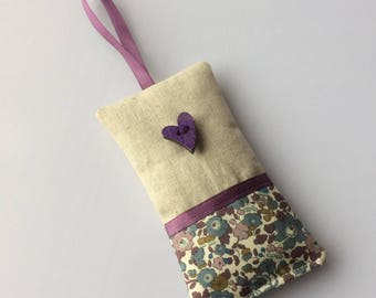 Liberty of London Tana Lawn lavender bag - fragrant sachet in shades of lilac/purple to keep amongst your clothes