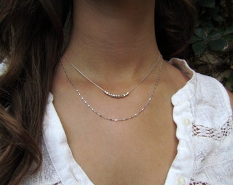 Two Layered Silver Necklaces, Simple Silver Necklaces, Silver Sparkle Necklaces