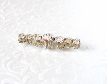 Rhinestone Bar Pin Large Oval Stones Vintage Costume Jewelry Brooch Wedding Gown Formal Evening Dress Bridal Pageant Ballroom Prom Accessory