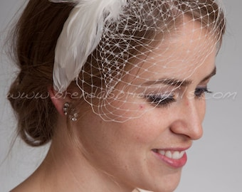 Bridal Birdcage Headband, Mini Veil with Feather Rhinestone Head Piece, Wedding Headband, Feather Fascinator - Sydney