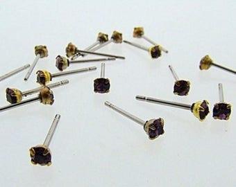 12 AMETHYST GLASS RHINESTONE Vintage jewel brass stud earrings v869