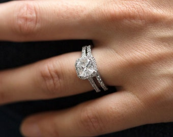 Two CZ Ring Set Sterling silver 925