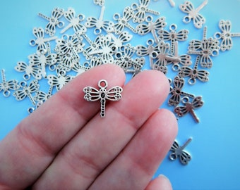 12 or 30 Sweet Little Dragonfly CHarms Very Small Nature Jewelry Supplies 15mm