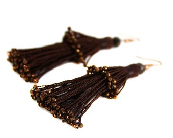 Tassel tier earrings, handmade earrings, beaded tassels, crystal tassels