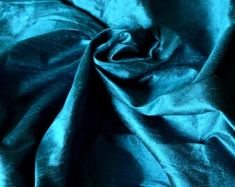 Silk Dupioni in  Teal with black shimmer, Extra wide 54 inches, Half yard - DEX 276