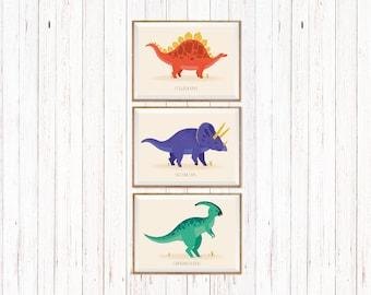 Set of three prints, Promotion, Dinosaurs print, Dinosaurs wall art, Dinosaur art, Nursery dinosaurs, Nursery wall art, Baby room decor