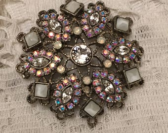 Sorelli Pendant or Brooch Pin Snowflake Crystals and White Stones on a Silver Tone Setting Iridescent Crystals
