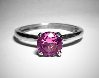 Silver and Pink Tourmaline Ring, October Birthstone, Vintage Style Ring, Engagement Ring, Proposal Ring, 6mm, Abish Jewelry Works, Free Ship
