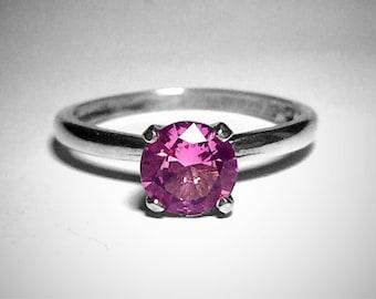 Silber und Pink Turmalinring, Oktober Birthstone, Vintage-Stil Ring, Verlobungsring, Vorschlag Ring, 6mm, Abish Schmuck Werke, kostenloser Versand