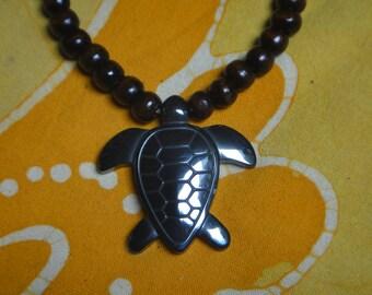 Carved Hematite Sea Turtle Prayer Bead Necklace Tribal Mens Honu Beaded Mala Gift for Him