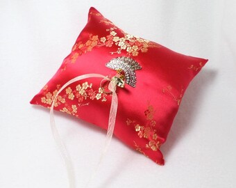 Red and Gold Cherry Blossom Ring Pillow