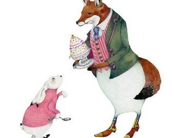Fox print Giclee illustration Fox and White Rabbit with a Trifle 8x11 print