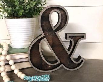 Wooden Marquee Ampersand Cutout, Laser Cut Wood Letter Sign Wooden Letter Wall Decor, Marquee Style Wood Letter Cutout