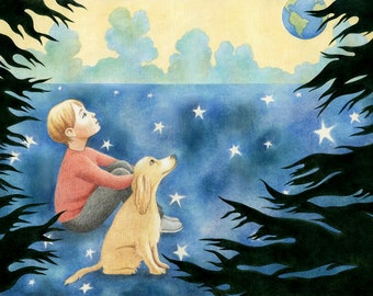"""Childhood Art Print, limited edition - """"In the Field of Stars"""""""