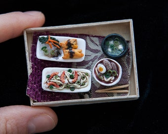 Miniature doll house 1:12 scale tray with asian food
