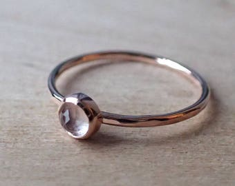Rose Quartz 4mm Rose Cut 9ct Rose Gold Hammered Texture Stacking Ring