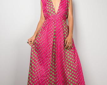 Pink green dress, maxi dress, polka dot dress : Oriental Secrets Collection