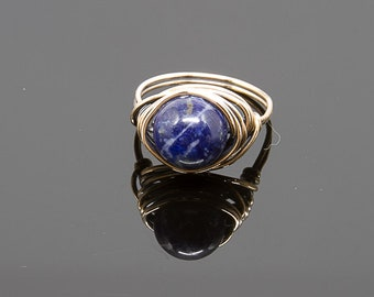 Blue Sodalite Nesting Copper Ring, Sodalite,Stone Ring,Natural Stone Ring,Wire Wrapped Ring,Copper Ring,Unique Ring,Womens ring,Blue R49A