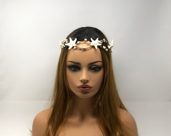 Boho, Mermaid, or Renaissance Crown with knobby star fish and pearls