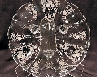 Fostoria Meadow Rose Footed Tray Elegant Glassware