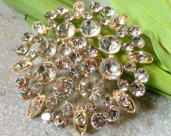 55mm Gold Tone Rhinestone Flat Back Embellishment Pin Clear Crystal Flower Broach Wedding Gold Rhinestone Brooch Bouquet Sash DIY Supply GC5