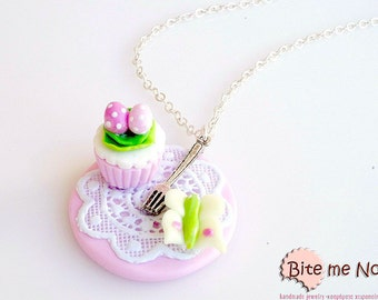 Easter Cupcake and Butterfly Necklace, Easter Jewelry,Miniature Food Jewelry, Easter Gifts, Cupcake Jewelry, Easter Cupcake