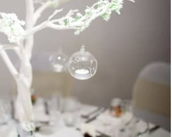 Glass baubles for tea light candles