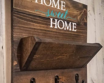 Choose Your Color, Entryway Decor, Key Mail Holder Organizer, Rustic, Farmhouse, Country