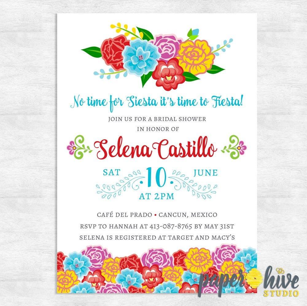 Fiesta Bridal Shower Invitations Spanish