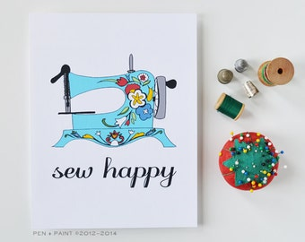 Mother's Day Gift, Blue Flowers Art Print, Sew Happy, Sewing Machine, I love sewing 5x7, 8x10, 11x14