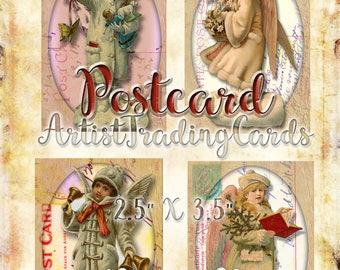 Vintage Snow Angels # 3 - 4 Artist Trading Cards - Tags - Digital Download