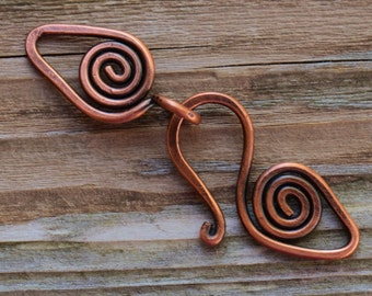 Handmade Spiral Copper Clasp - 16 gauge Artisan Forged Copper Clasp