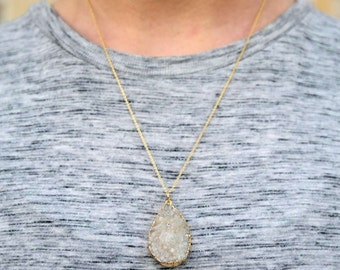 White Tear Drop Druzy 24K Gold Fill Necklace - Full Back Plating