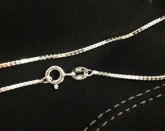 18in, Sterling Silver Box Chain with Spring Ring