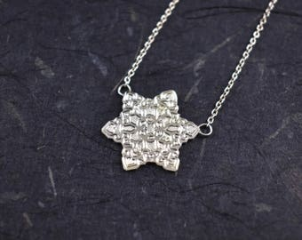 Hearts & Stars Snowflake Necklace // Sterling Silver Necklace // Chain Necklace // Winter Jewelry // Village Silversmith