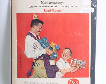 1957 Original Cereal Advertisement Post - Tens by Dick Sargent from LIFE Magazine