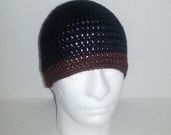 Mens Crochet Beanie, Men's Crochet Hat Two-Toned Black and Chocolate Brown, Crochet Beanie Black with Brown Border, Men's Winter Hat