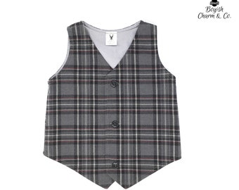 Grey Plaid Vest, Plaid Vest, Boys Grey Vest, Baby Boy Vest, Boys Gray Vest, Vest, Grey Vest for Boys, Toddler Grey Vest, Ring Bearer Outfit