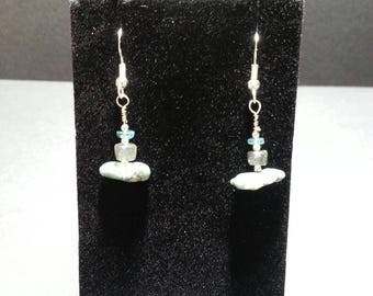 Labradorite, Apatite and Turquoise Sterling silver earrings