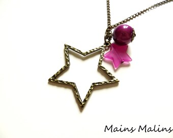 Necklace bronze star and purple beads