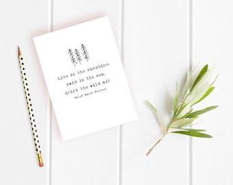 Live in the Sunshine Card - Ralph Waldo Emerson Quote - Graduation Card